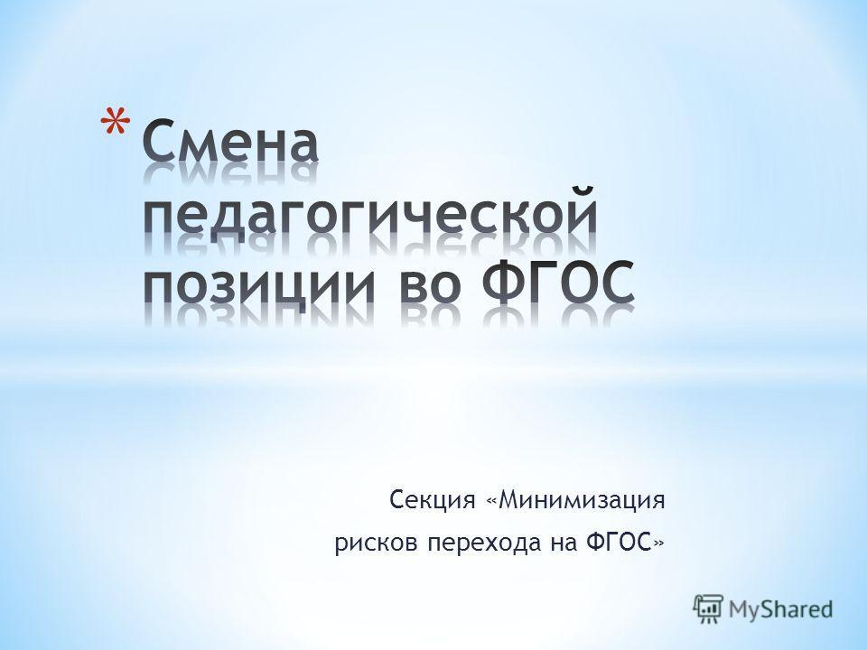 Секция «Минимизация рисков перехода на ФГОС»