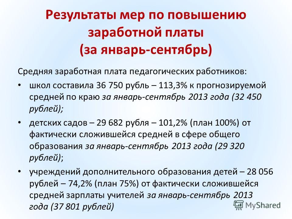 Результаты мер по повышению заработной платы (за январь-сентябрь) Средняя заработная плата педагогических работников: школ составила 36 750 рубль – 113,3% к прогнозируемой средней по краю за январь-сентябрь 2013 года (32 450 рублей); детских садов –