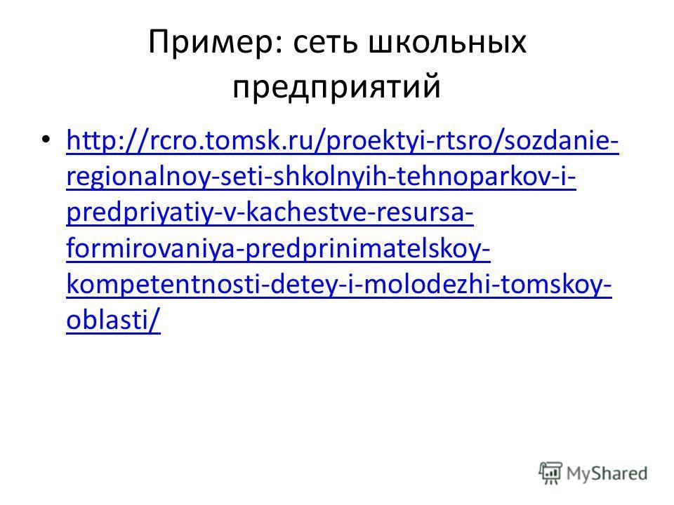 Пример: сеть школьных предприятий http://rcro.tomsk.ru/proektyi-rtsro/sozdanie- regionalnoy-seti-shkolnyih-tehnoparkov-i- predpriyatiy-v-kachestve-resursa- formirovaniya-predprinimatelskoy- kompetentnosti-detey-i-molodezhi-tomskoy- oblasti/ http://rc