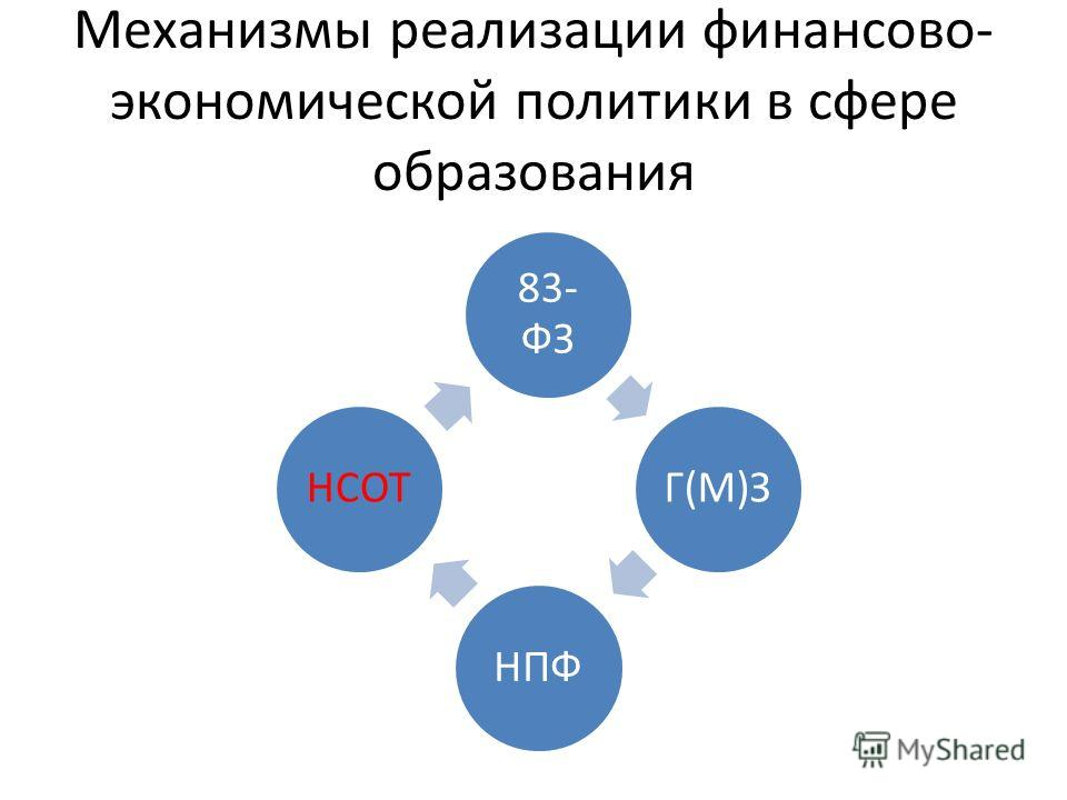 Механизмы реализации финансово- экономической политики в сфере образования 83- ФЗ Г(М)ЗНПФНСОТ