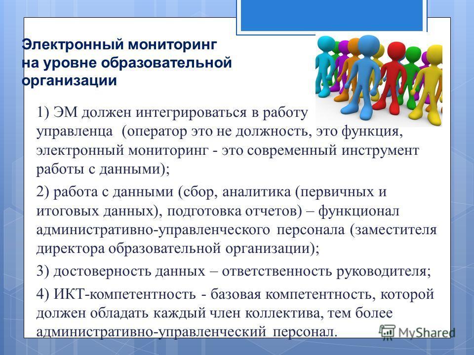 Электронный мониторинг на уровне образовательной организации 1) ЭМ должен интегрироваться в работу управленца ( оператор это не должность, это функция, электронный мониторинг - это современный инструмент работы с данными ); 2) работа с данными ( сбор