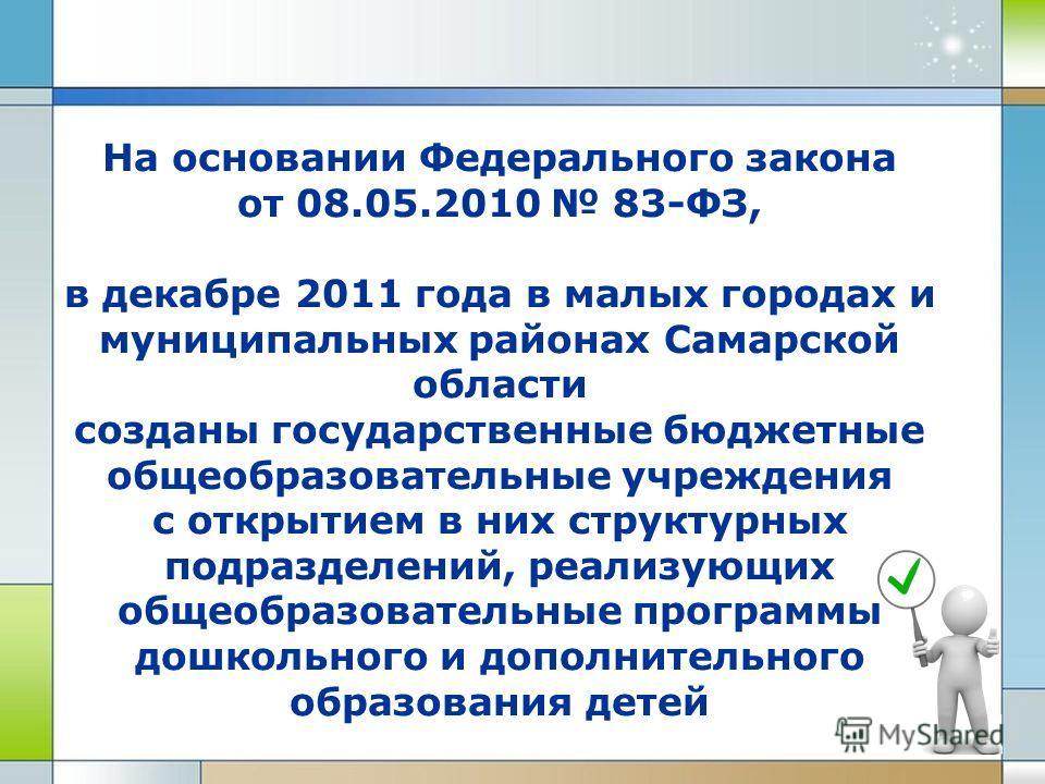На основании Федерального закона от 08.05.2010 83-ФЗ, в декабре 2011 года в малых городах и муниципальных районах Самарской области созданы государственные бюджетные общеобразовательные учреждения с открытием в них структурных подразделений, реализую