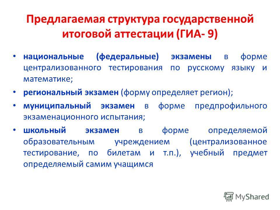 Предлагаемая структура государственной итоговой аттестации (ГИА- 9) национальные (федеральные) экзамены в форме централизованного тестирования по русскому языку и математике; региональный экзамен (форму определяет регион); муниципальный экзамен в фор