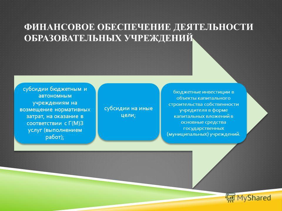 ФИНАНСОВОЕ ОБЕСПЕЧЕНИЕ ДЕЯТЕЛЬНОСТИ ОБРАЗОВАТЕЛЬНЫХ УЧРЕЖДЕНИЙ субсидии бюджетным и автономным учреждениям на возмещение нормативных затрат, на оказание в соответствии с Г ( М ) З услуг ( выполнением работ ); субсидии на иные цели ; бюджетные инвести