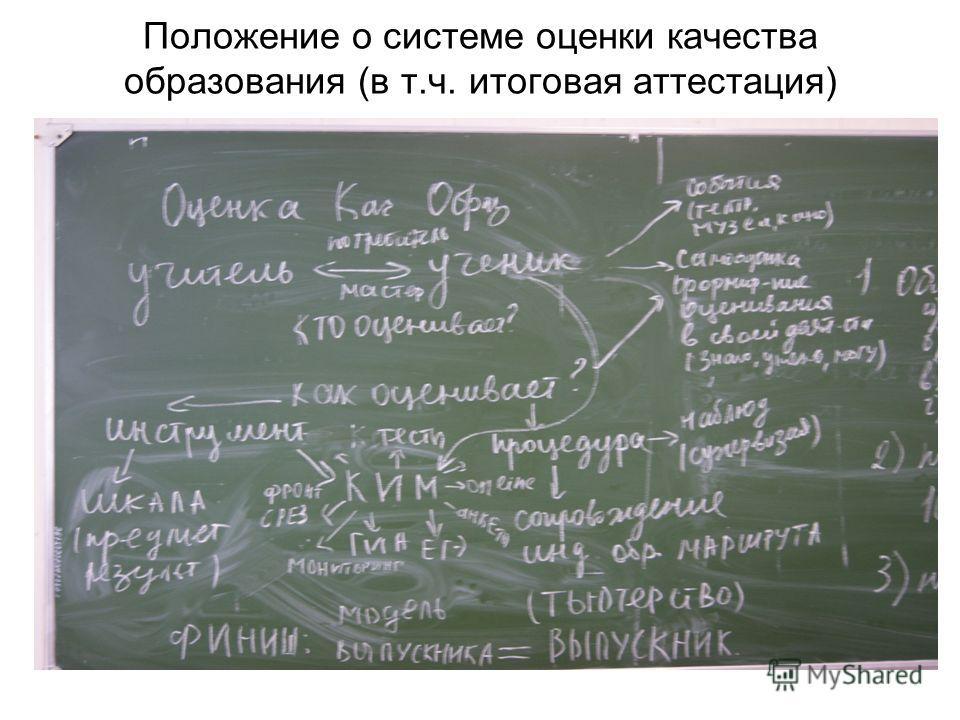 Положение о системе оценки качества образования (в т.ч. итоговая аттестация)