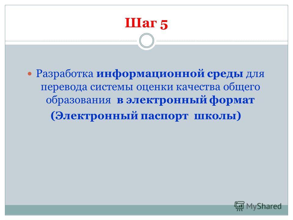 Шаг 5 Разработка информационной среды для перевода системы оценки качества общего образования в электронный формат (Электронный паспорт школы)