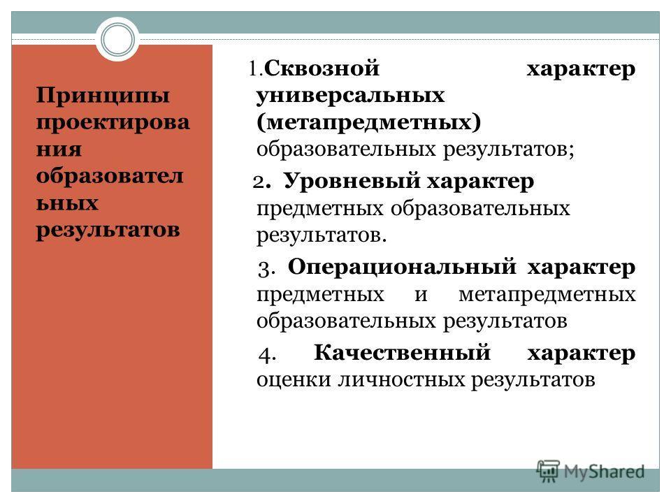 Принципы проектирова ния образовател ьных результатов 1. Сквозной характер универсальных (метапредметных) образовательных результатов; 2. Уровневый характер предметных образовательных результатов. 3. Операциональный характер предметных и метапредметн