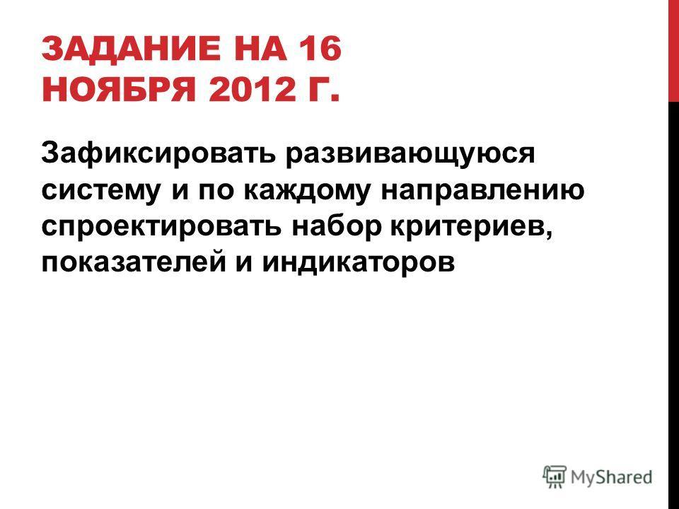 ЗАДАНИЕ НА 16 НОЯБРЯ 2012 Г. Зафиксировать развивающуюся систему и по каждому направлению спроектировать набор критериев, показателей и индикаторов