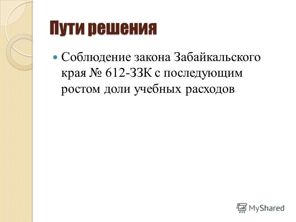Пути решения Соблюдение закона Забайкальского края 612-ЗЗК с последующим ростом доли учебных расходов