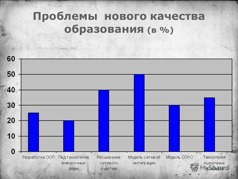 Проблемы нового качества образования (в %)