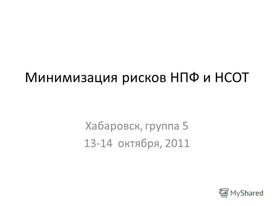 Минимизация рисков НПФ и НСОТ Хабаровск, группа 5 13-14 октября, 2011
