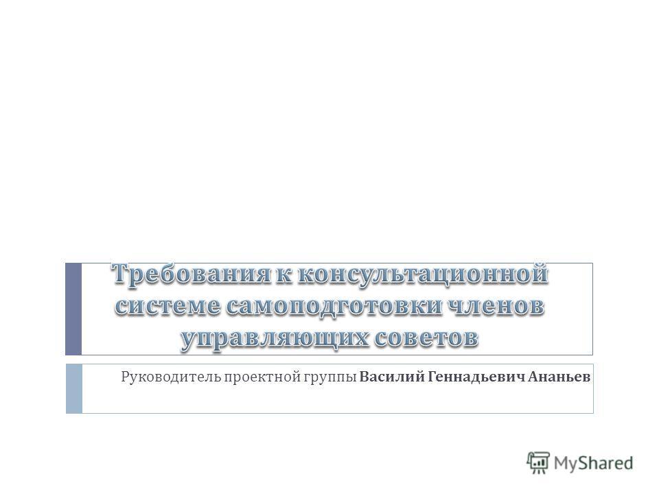 Руководитель проектной группы Василий Геннадьевич Ананьев