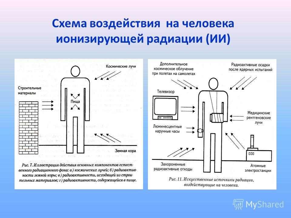 Схема воздействия на человека ионизирующей радиации (ИИ)