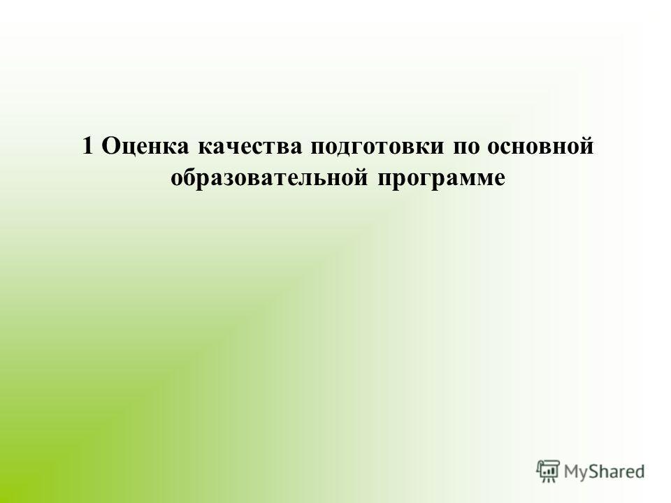 1 Оценка качества подготовки по основной образовательной программе