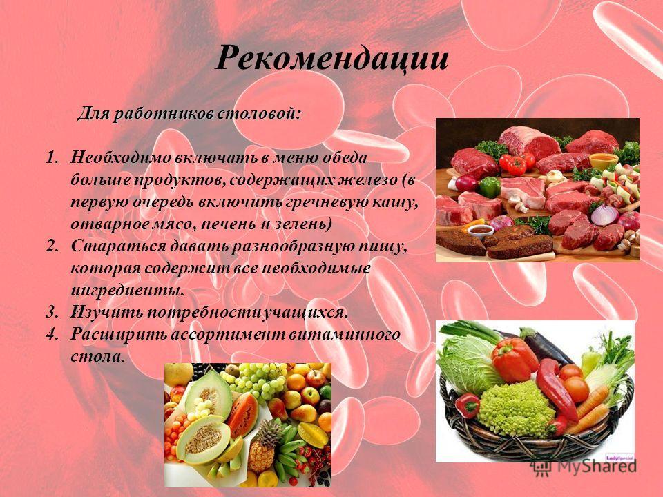 Рекомендации Для работников столовой: 1.Необходимо включать в меню обеда больше продуктов, содержащих железо (в первую очередь включить гречневую кашу, отварное мясо, печень и зелень) 2.Стараться давать разнообразную пищу, которая содержит все необхо