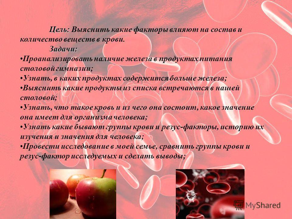 Поток жизни Цель: Цель: Выяснить какие факторы влияют на состав и количество веществ в крови.Задачи: Проанализировать наличие железа в продуктах питания столовой гимназии; Узнать, в каких продуктах содержится больше железа; Выяснить какие продукты из