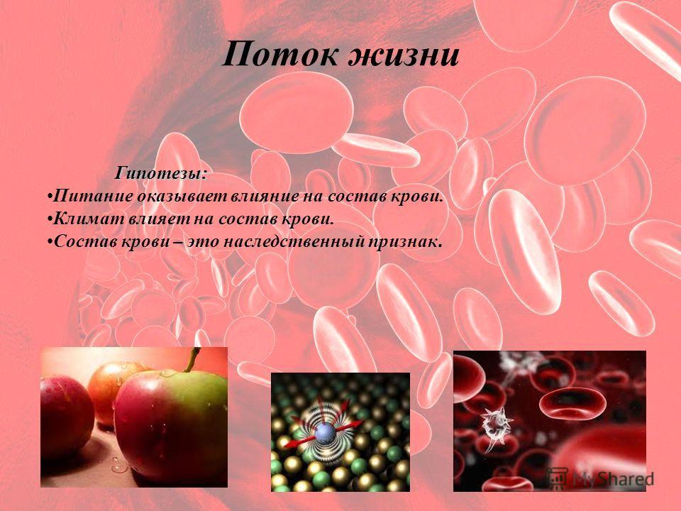Поток жизни Гипотезы: Питание оказывает влияние на состав крови. Климат влияет на состав крови. Состав крови – это наследственный признак.