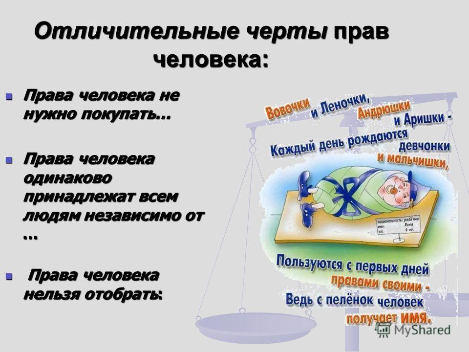 Отличительные черты прав человека: Права человека не нужно покупать… Права человека не нужно покупать… Права человека одинаково принадлежат всем людям независимо от … Права человека одинаково принадлежат всем людям независимо от … Права человека нель