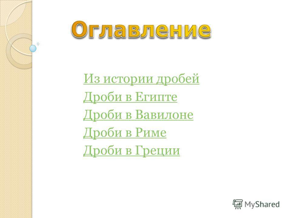 Из истории дробей Дроби в Египте Дроби в Вавилоне Дроби в Риме Дроби в Греции