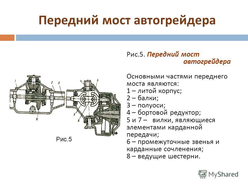 Передний мост автогрейдера Рис.5. Передний мост автогрейдера Основными частями переднего моста являются : 1 – литой корпус ; 2 – балки ; 3 – полуоси ; 4 – бортовой редуктор ; 5 и 7 – вилки, являющиеся элементами карданной передачи ; 6 – промежуточные