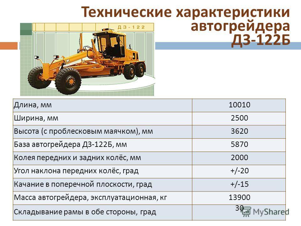 Технические характеристики автогрейдера ДЗ -122 Б Длина, мм 10010 Ширина, мм 2500 Высота (с проблесковым маячком), мм 3620 База автогрейдера ДЗ-122Б, мм 5870 Колея передних и задних колёс, мм 2000 Угол наклона передних колёс, град +/-20 Качание в поп