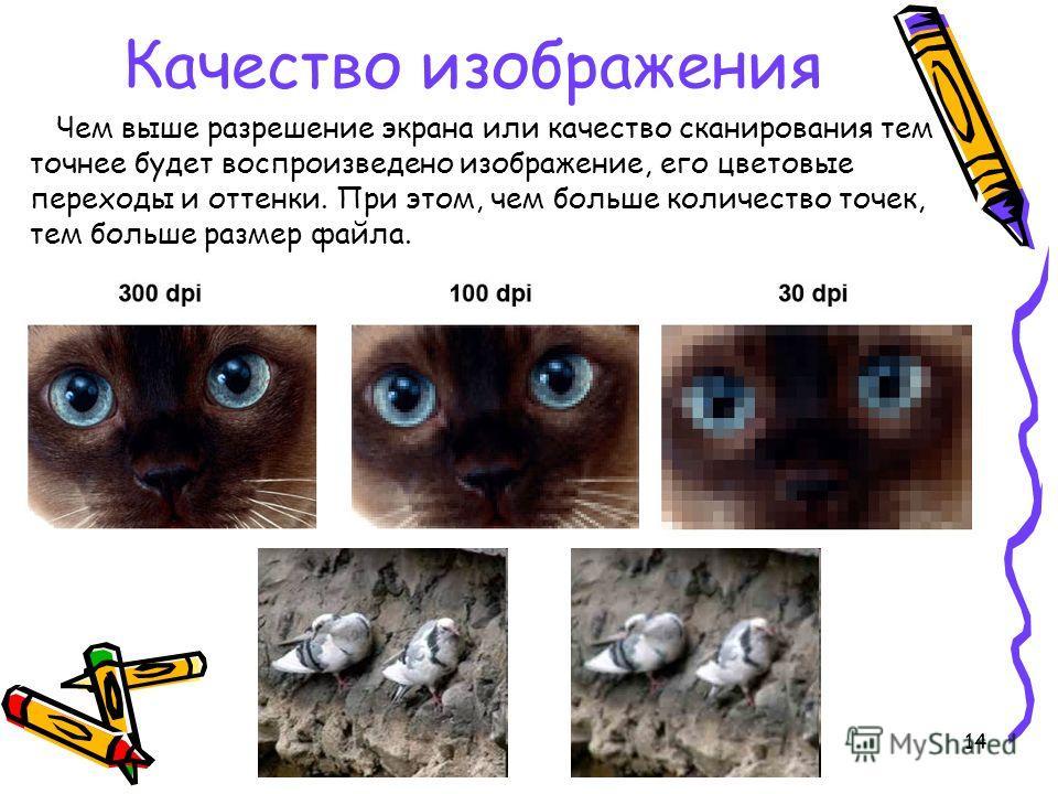 14 Чем выше разрешение экрана или качество сканирования тем точнее будет воспроизведено изображение, его цветовые переходы и оттенки. При этом, чем больше количество точек, тем больше размер файла. Качество изображения