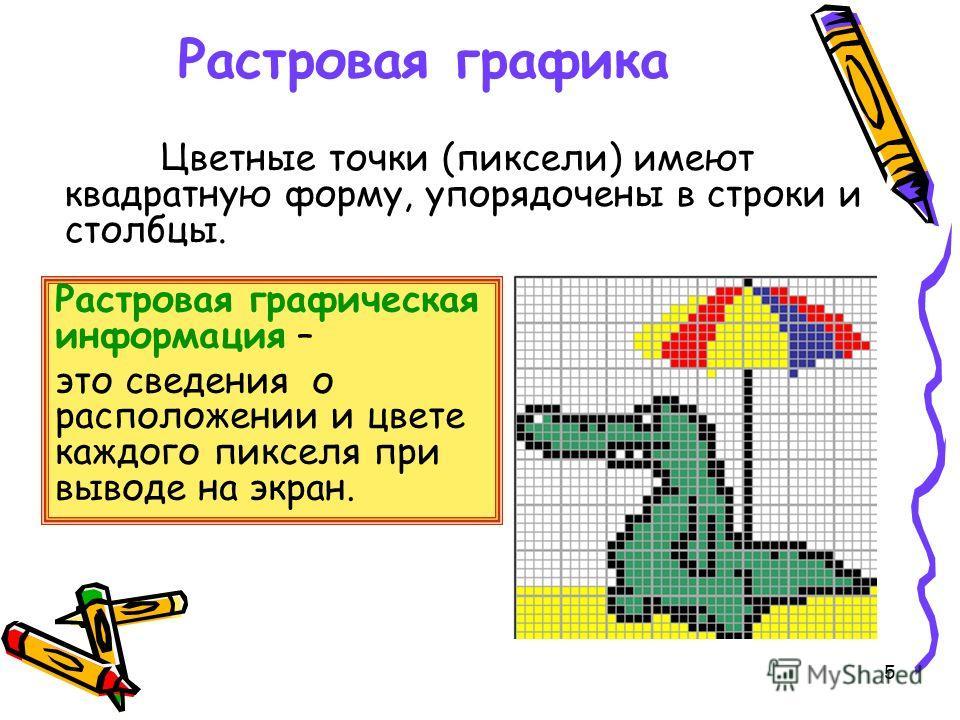 5 Растровая графика Цветные точки (пиксели) имеют квадратную форму, упорядочены в строки и столбцы. Растровая графическая информация – это сведения о расположении и цвете каждого пикселя при выводе на экран.