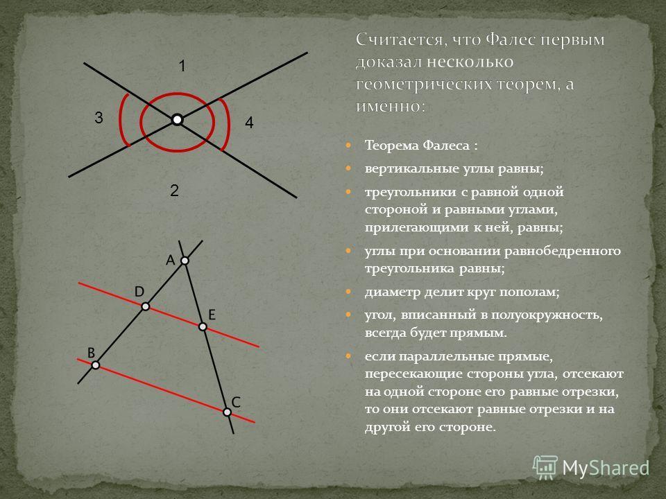Теорема Фалеса : вертикальные углы равны; треугольники с равной одной стороной и равными углами, прилегающими к ней, равны; углы при основании равнобедренного треугольника равны; диаметр делит круг пополам; угол, вписанный в полуокружность, всегда бу