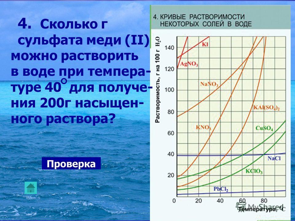 4. Сколько г сульфата меди (II) можно растворить в воде при темпера- туре 40 для получе- ния 200г насыщен- ного раствора? Проверка