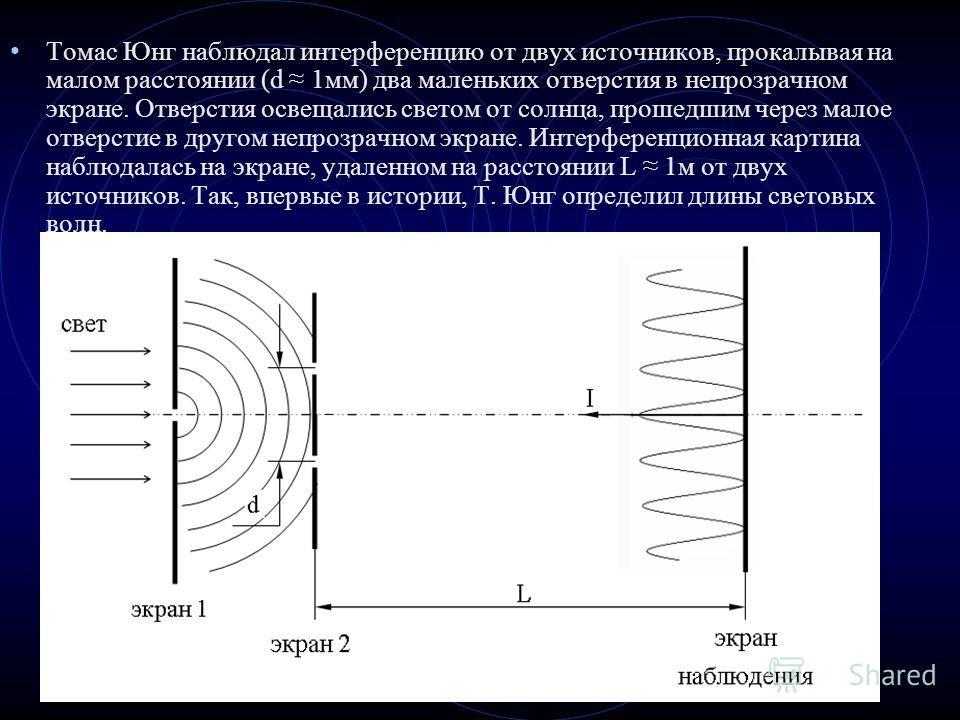 Томас Юнг наблюдал интерференцию от двух источников, прокалывая на малом расстоянии (d 1мм) два маленьких отверстия в непрозрачном экране. Отверстия освещались светом от солнца, прошедшим через малое отверстие в другом непрозрачном экране. Интерферен