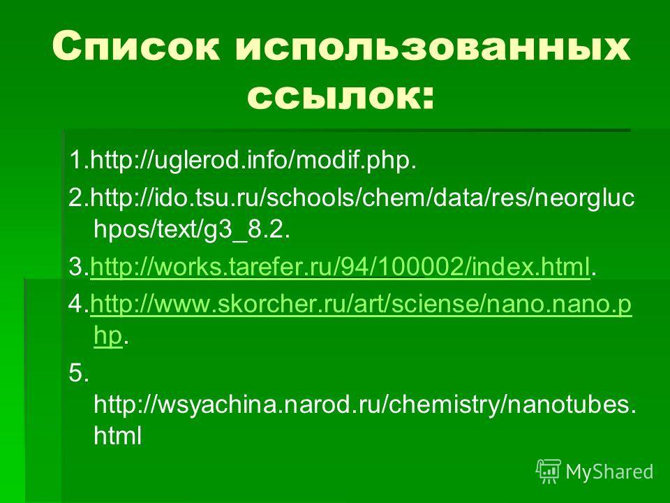 Список использованных ссылок: 1.http://uglerod.info/modif.php. 2.http://ido.tsu.ru/schools/chem/data/res/neorgluc hpos/text/g3_8.2. 3.http://works.tarefer.ru/94/100002/index.html.http://works.tarefer.ru/94/100002/index.html 4.http://www.skorcher.ru/a
