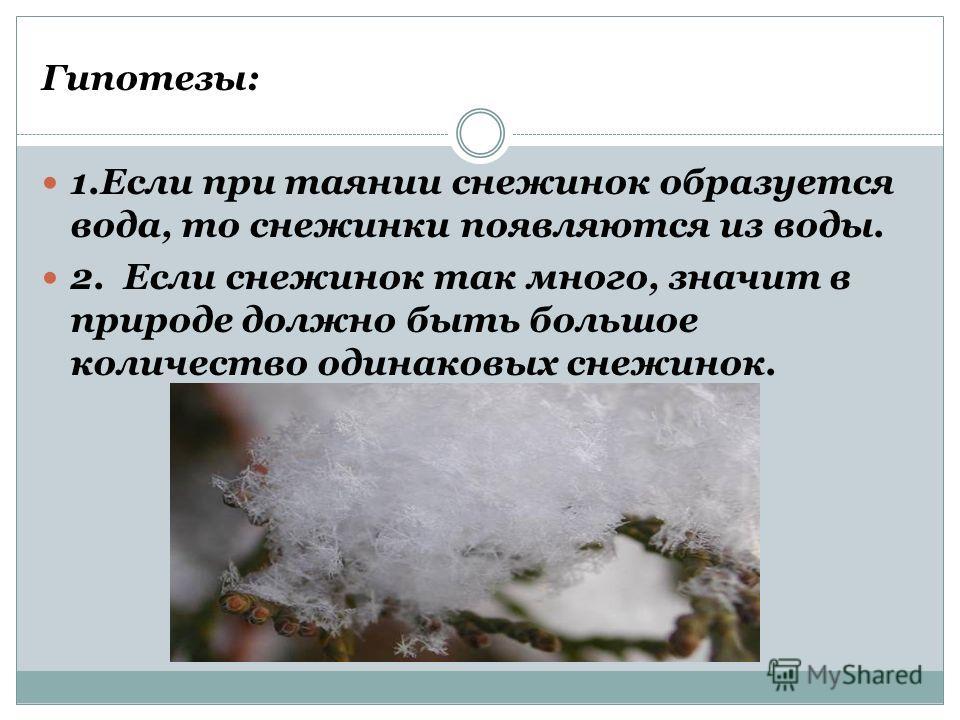 Гипотезы: 1.Если при таянии снежинок образуется вода, то снежинки появляются из воды. 2. Если снежинок так много, значит в природе должно быть большое количество одинаковых снежинок.