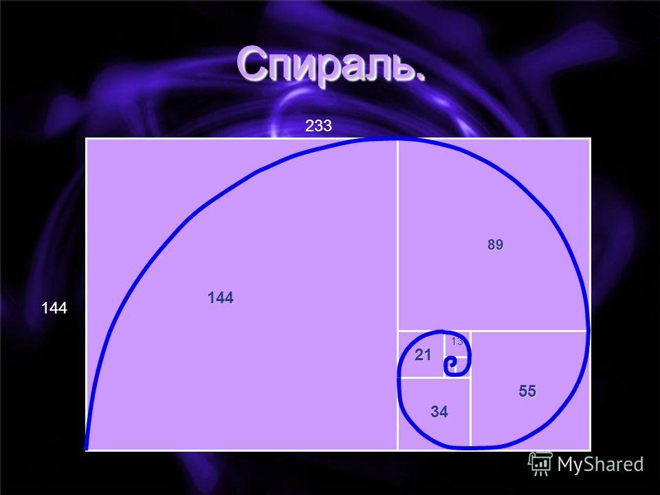 144 233 144 21 55 34 89 13 Спираль.Спираль.