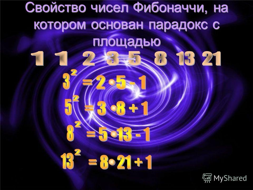 Свойство чисел Фибоначчи, на котором основан парадокс с площадью