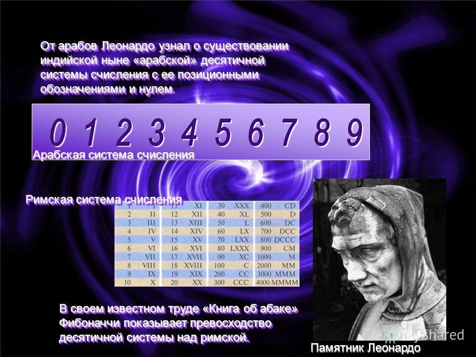 От арабов Леонардо узнал о существовании индийской ныне «арабской» десятичной системы счисления с ее позиционными обозначениями и нулем От арабов Леонардо узнал о существовании индийской ныне «арабской» десятичной системы счисления с ее позиционными