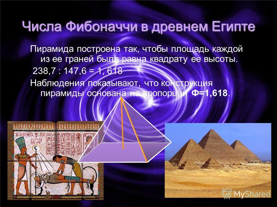 Числа Фибоначчи в древнем Египте Пирамида построена так, чтобы площадь каждой из ее граней была равна квадрату ее высоты. 238,7 : 147,6 = 1, 618 Наблюдения показывают, что конструкция пирамиды основана на пропорции Ф=1,618.
