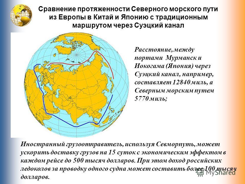 Сравнение протяженности Северного морского пути из Европы в Китай и Японию с традиционным маршрутом через Суэцкий канал Расстояние, между портами Мурманск и Иокогама (Япония) через Суэцкий канал, например, составляет 12840 миль, а Северным морским пу