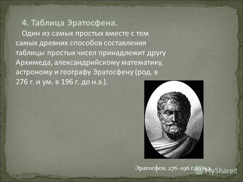 4. Таблица Эратосфена. Один из самых простых вместе с тем самых древних способов составления таблицы простых чисел принадлежит другу Архимеда, александрийскому математику, астроному и географу Эратосфену (род. в 276 г. и ум. в 196 г. до н.э.). Эратос