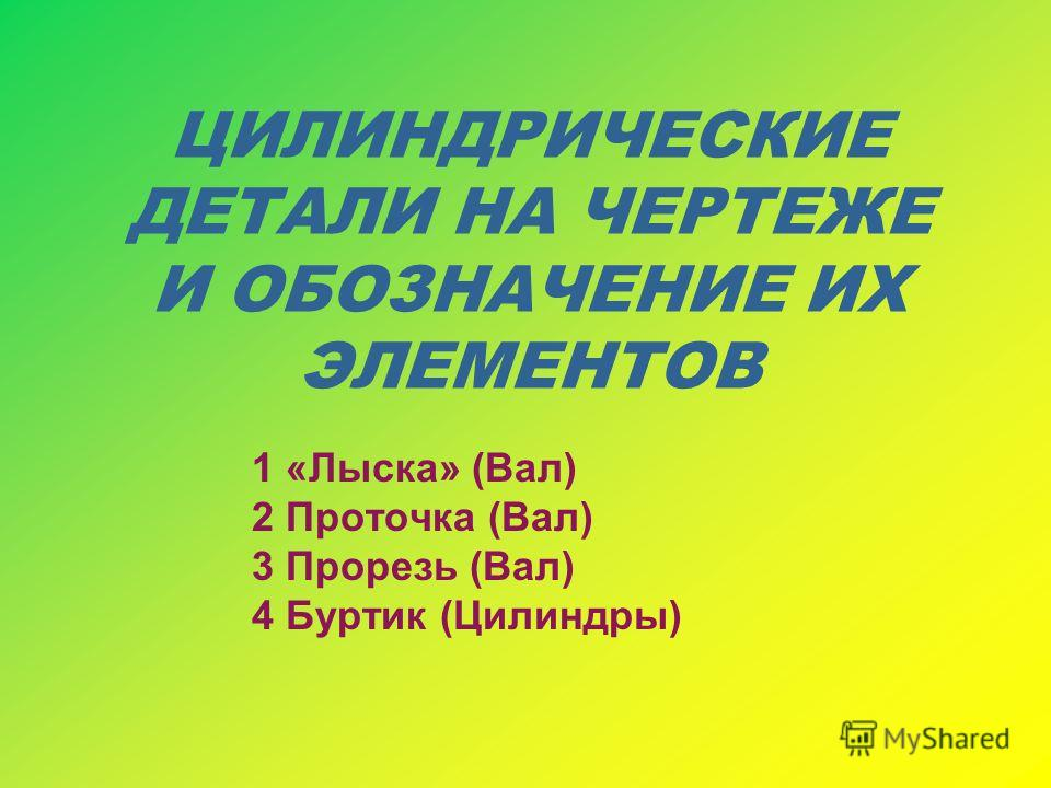 ЦИЛИНДРИЧЕСКИЕ ДЕТАЛИ НА ЧЕРТЕЖЕ И ОБОЗНАЧЕНИЕ ИХ ЭЛЕМЕНТОВ 1 «Лыска» (Вал) 2 Проточка (Вал) 3 Прорезь (Вал) 4 Буртик (Цилиндры)