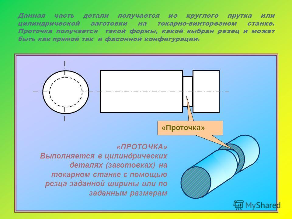 Данная часть детали получается из круглого прутка или цилиндрической заготовки на токарно-винторезном станке. Проточка получается такой формы, какой выбран резец и может быть как прямой так и фасонной конфигурации. «ПРОТОЧКА» Выполняется в цилиндриче