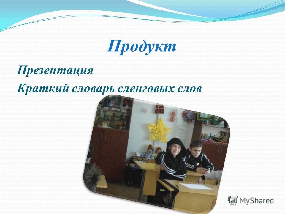 Продукт Презентация Краткий словарь сленговых слов