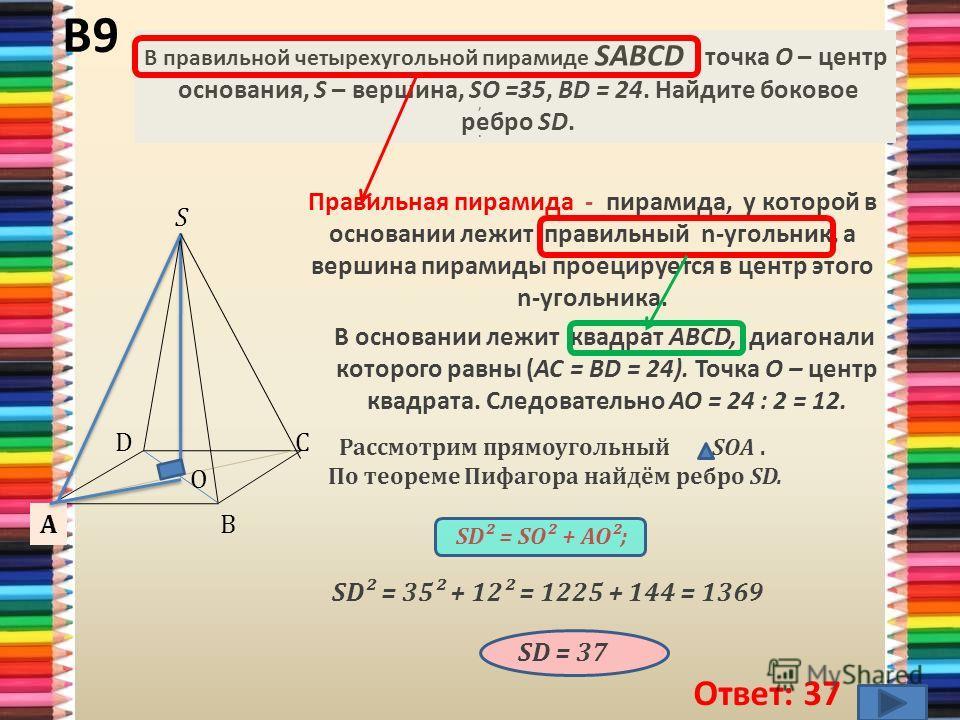 В основании лежит квадрат ABCD, диагонали которого равны (AC = BD = 24). Точка О – центр квадрата. Следовательно AO = 24 : 2 = 12. В9 Ответ: 37 Правильная пирамида - пирамида, у которой в основании лежит правильный n-угольник, а вершина пирамиды прое
