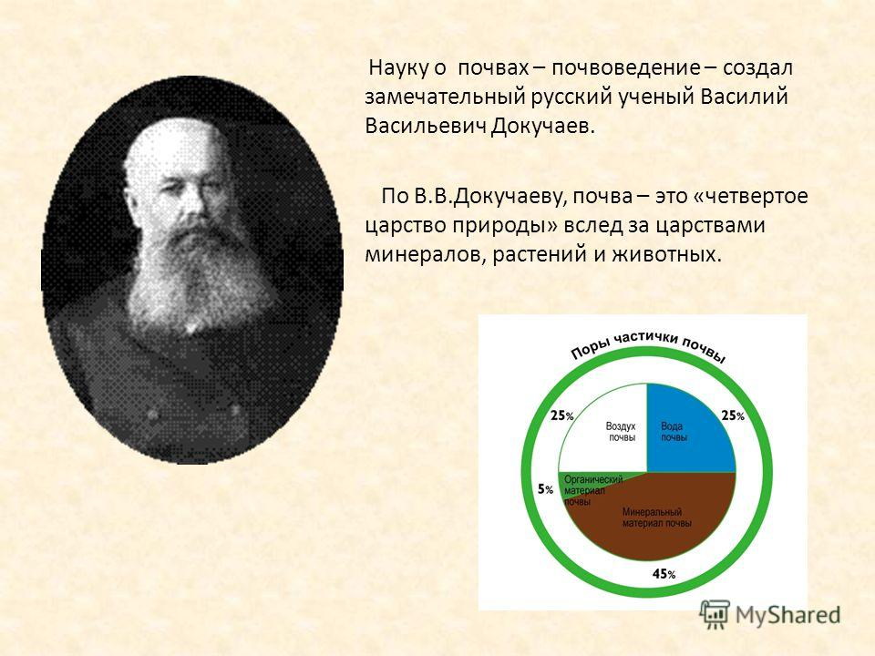Науку о почвах – почвоведение – создал замечательный русский ученый Василий Васильевич Докучаев. По В.В.Докучаеву, почва – это «четвертое царство природы» вслед за царствами минералов, растений и животных.