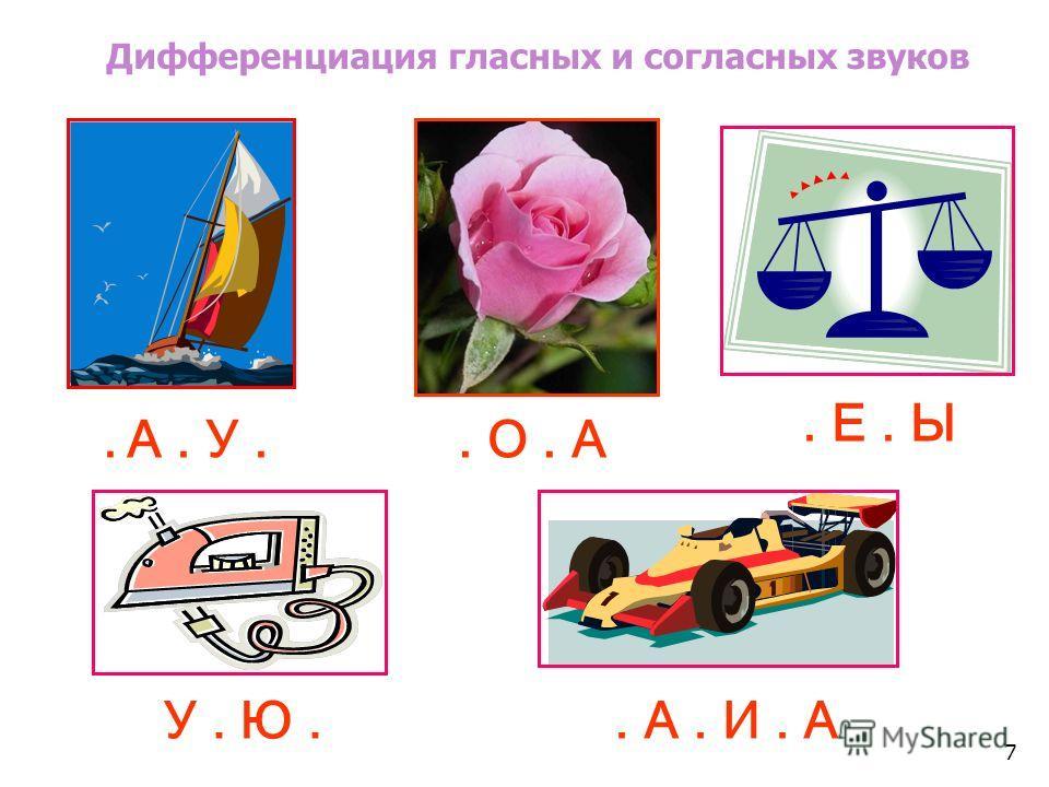 Дифференциация гласных и согласных звуков У. Ю.. А. И. А. А. У.. Е. Ы. О. А 7