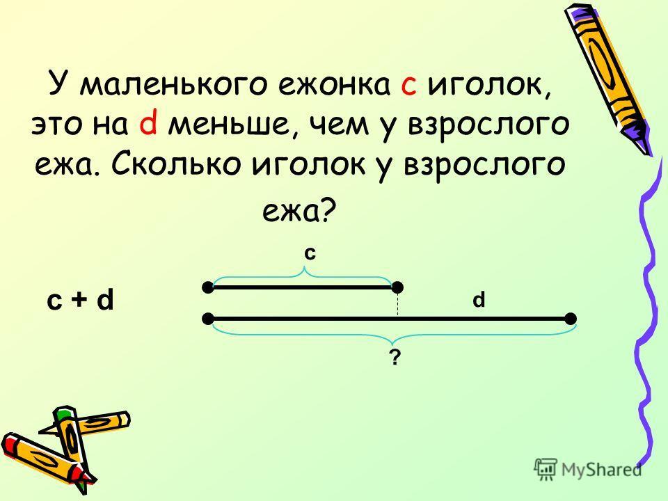 У маленького ежонка c иголок, это на d меньше, чем у взрослого ежа. Сколько иголок у взрослого ежа? c + d c ? d
