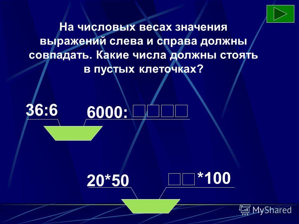 На числовых весах значения выражений слева и справа должны совпадать. Какие числа должны стоять в пустых клеточках? 36:6 6000: 20*50 *100