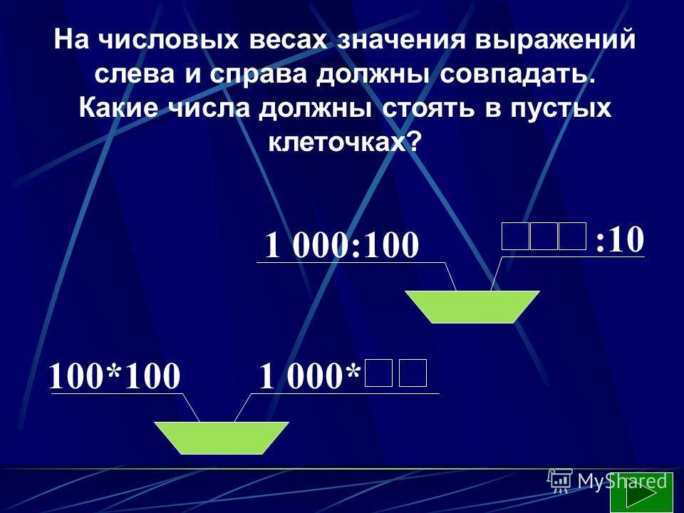 На числовых весах значения выражений слева и справа должны совпадать. Какие числа должны стоять в пустых клеточках? :10 1 000:100 100*1001 000*