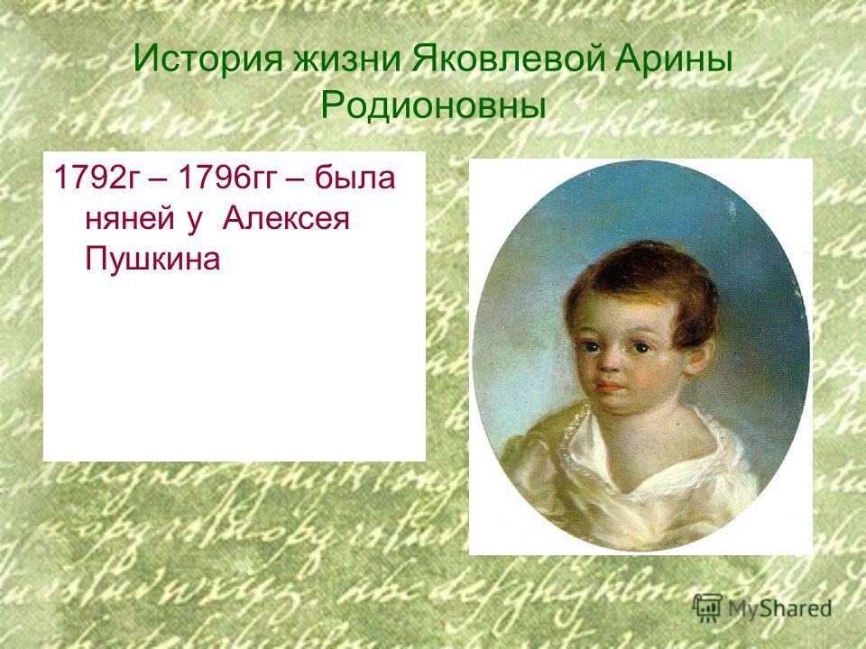 История жизни Яковлевой Арины Родионовны 1792г – 1796гг – была няней у Алексея Пушкина