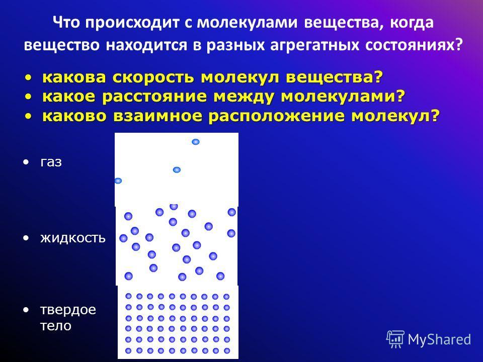 Что происходит с молекулами вещества, когда вещество находится в разных агрегатных состояниях? какова скорость молекул вещества?какова скорость молекул вещества? какое расстояние между молекулами?какое расстояние между молекулами? каково взаимное рас