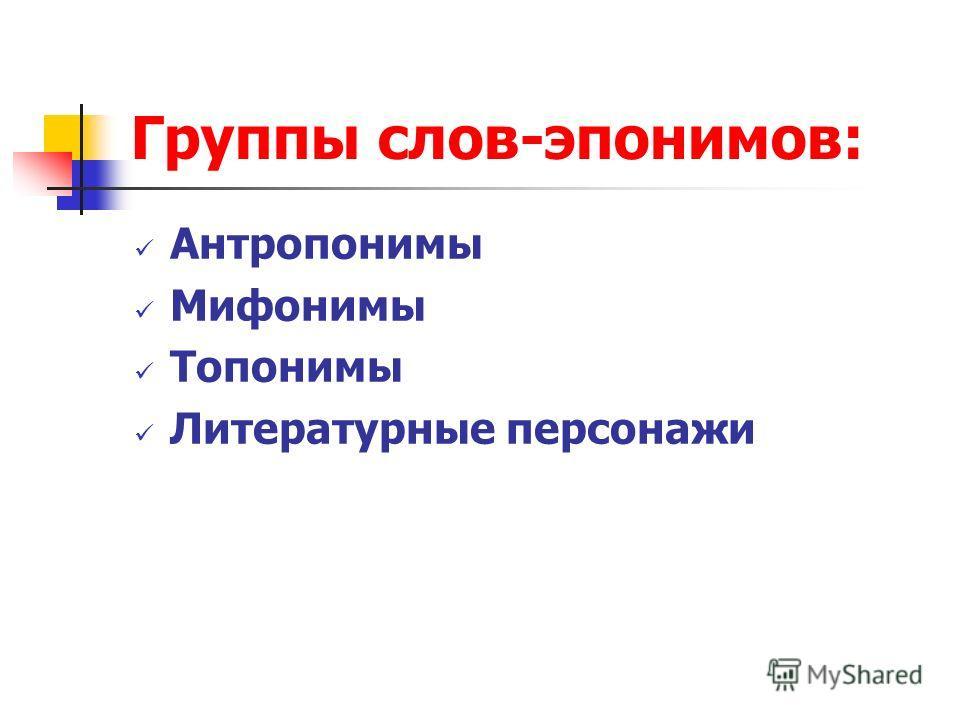 Группы слов-эпонимов: Антропонимы Мифонимы Топонимы Литературные персонажи